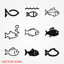 Fish Icon, Vector Illustration...