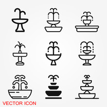 Fountain Icon, Vector Illustration Fountain With Water Splash