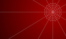 White Spider Web On A Red Back...