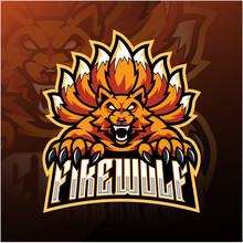 Fire Wolf Esport Mascot Logo D...