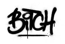 Graffiti Bitch Word Sprayed In Black Over White