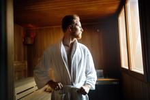 Handsome Man Relaxing In Sauna...