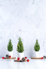 FototapetaThree christmas tree with pine cone and decor xmas ball on white table and marble tile wall background.clean minimal simple style.holiday still life mockup banner with space to adding text