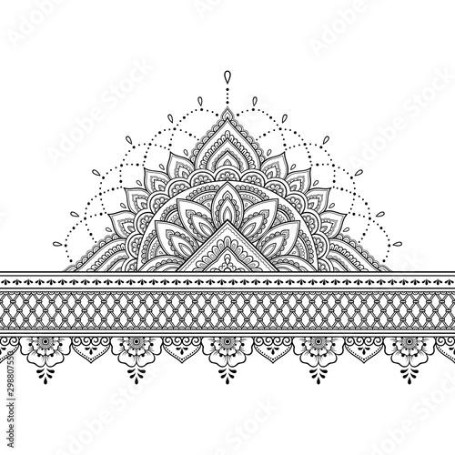 Valokuva  Seamless borders with mandala for design, application of henna, Mehndi and tattoo