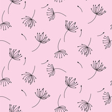 Simple Dandelions On Pink Seamless Pattern Background.