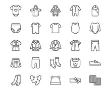 Baby Clothes Flat Line Icons S...