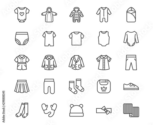 Baby clothes flat line icons set. Bodysuit, coverall, romper, buster suit, newborn nest, girl dress vector illustrations. Outline signs for children fashion store. Pixel perfect 64x64 Editable Stroke - 298808341