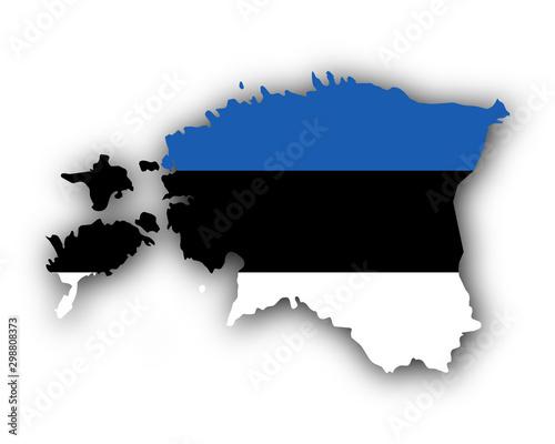 Fotografía  Karte und Fahne von Estland