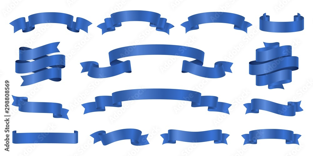 Fototapeta Blue ribbons. Realistic ribbon banners vector collection. Illustration flag ribbon banner, blue realistic label