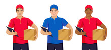Set Of Young Delivery Men: Asi...