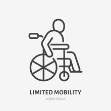 Wheelchair Flat Line Icon. Disabled Person In Wheel Chair Vector Illustration. Thin Sign Of Limited Mobility Citizen