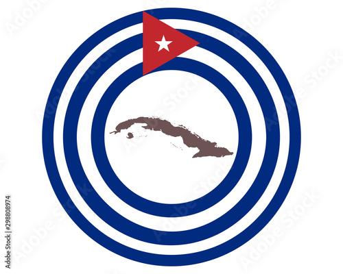 Landkarte von Kuba auf Hintergrund mit Fahne Canvas Print