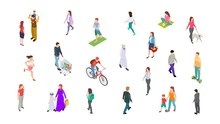 Different People. Isometric Persons, Kids, Men, Women. 3d Vector Active People Walk, Businessman, Athletes Isolated On White Background. Woman And Man Walk, Run And Ride Illustration