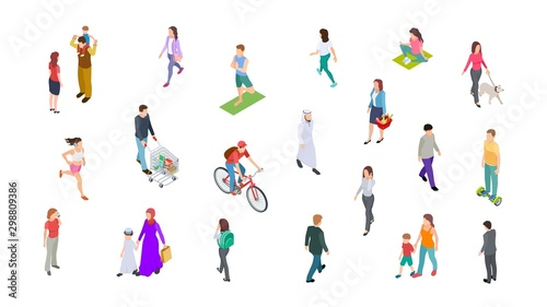 Different people. Isometric persons, kids, men, women. 3d vector active people walk, businessman, athletes isolated on white background. Woman and man walk, run and ride illustration - 298809386