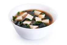 Bowl With Miso Soup Isolated On White Background.