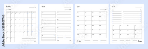 Fototapeta Planner templates. Year, weekly and day planning tabs for notebook pages. Business book diary, office organizer plans vector set. Illustration planner year and date, day plan calendar obraz na płótnie