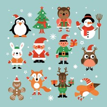 Christmas Characters. Santa Claus, Fir-tree And Penguin, Snowman And Elf, Hare And Owl, Deer And Gingerbread Man Cartoon Vector Set. Christmas Snowman And Penguin, Deer Elf Illustration