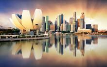 Singapore Skyline At The Marina During Dramatic Sunset