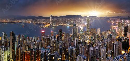 Hong Kong skyline panorama at dramatic sunset, China - Asia - 298810966