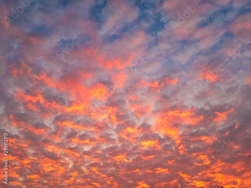 Altocumulus flaky clouds (lat Wallpaper Mural