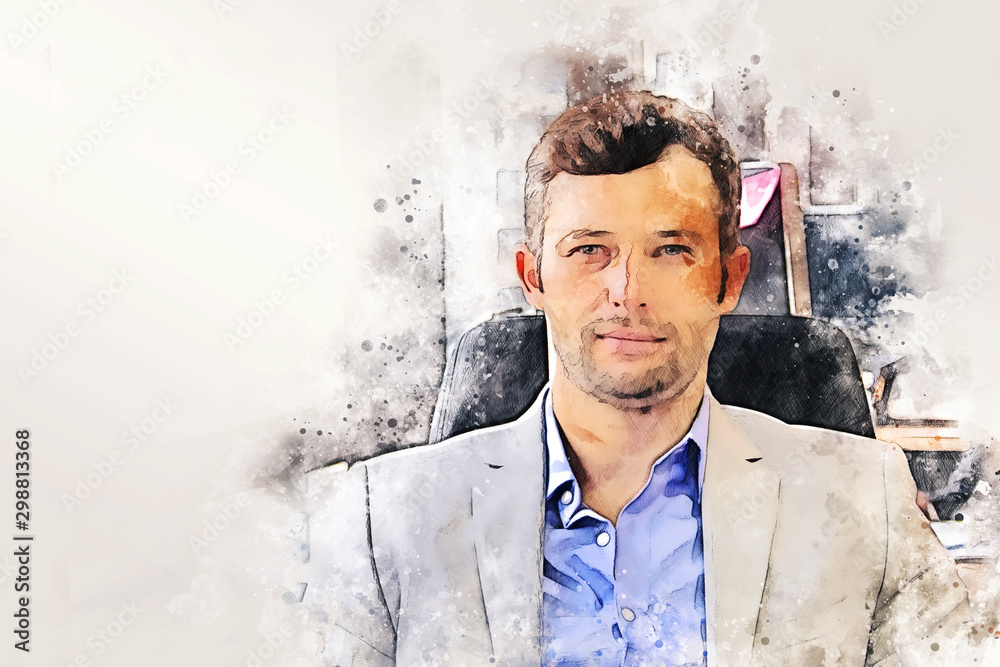 Close-up creative business man happy and fun for creative job for work in the office on watercolor illustration painting background.