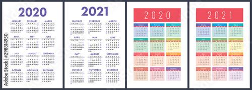 Calendar 2020, 2021 years Fototapet