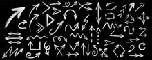 Chalk Arrow Vector Set. Chalk Graphic Arrow Collection . Chalk Arrow On Black Board. Vector Illustration Eps10