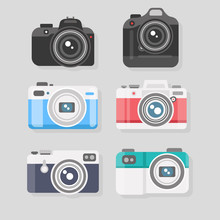 Set Of Camera Flat Icons. Vect...