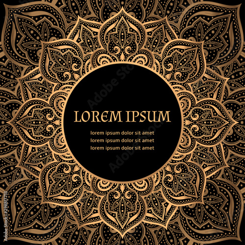 Fototapeta Luxury Background Vector Islamic Paisley Mandala Royal Pattern Card Template Victorian Design For Ramadan Christmas Party New Year