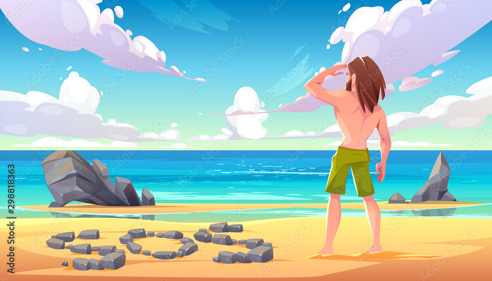 Fototapety, obrazy: Castaway man on uninhabited island, lonely stranded longhaired character stand on seaside looking into distance on ocean with sos sign made of stones lying on sandy beach. Cartoon vector illustration