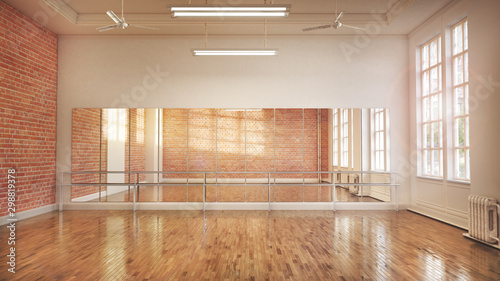 Dance or ballet studio interior. 3d illustration Fototapeta