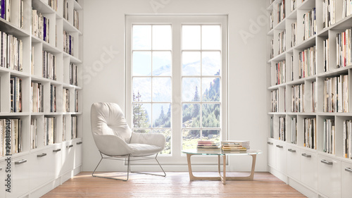 Photo Reading place with wooden floor,bookshelves, white wall