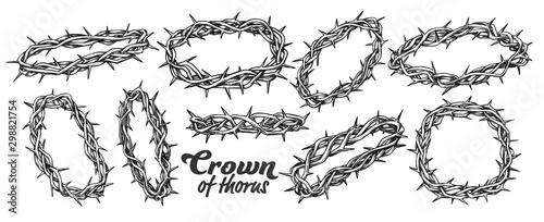 Leinwand Poster Crown Of Thorns Religious Symbols Set Ink Vector