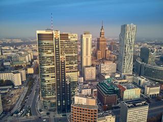 Panel Szklany Podświetlane Warszawa Beautiful panoramic aerial drone view to panorama cityscape of Warsaw modern City, PKiN and