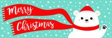 Merry Christmas Banner. White ...