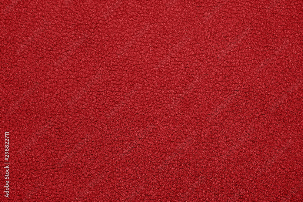 Fototapeta Background texture of red natural leather grain