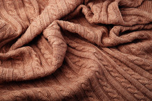 Folds Of A Knitted Woolen Blanket, Top View
