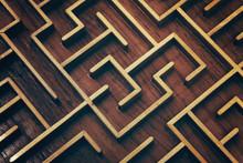 Wooden Brown Labyrinth Maze Pu...