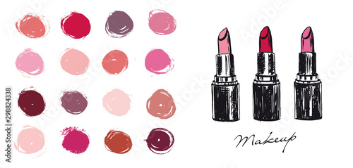 Makeup set. Lipstick hand drawn illustration. Fototapet