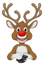 Christmas Reindeer Cartoon Character With A Big Red Nose