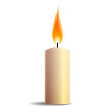 Burning Realistic Candle Icon ...