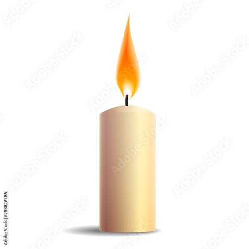 Burning realistic candle icon isolated on white background Fototapete
