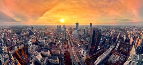 Fototapeta Beautiful panoramic aerial drone view to panorama cityscape of Warsaw modern Cit