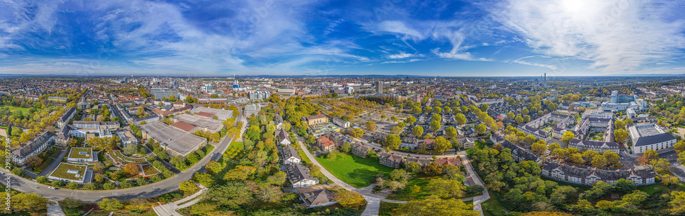 Fototapety, obrazy: 360° aerial panorama of ludwigshafen