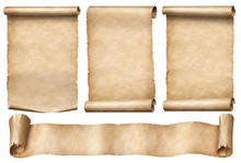 Old Paper Scrolls With Ribbon Banner Set Isolated