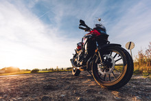 Adventure Motorbike On Roadsid...
