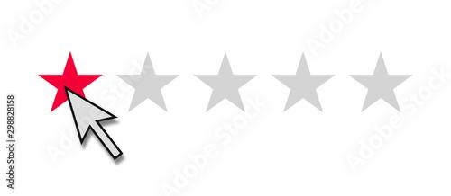Fotomural  1 roter Stern zeigt schlechte Bewertung online