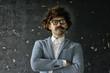 hipser teacher glasses mustache, crystal modern young teacher, brutal guy concept with mustache
