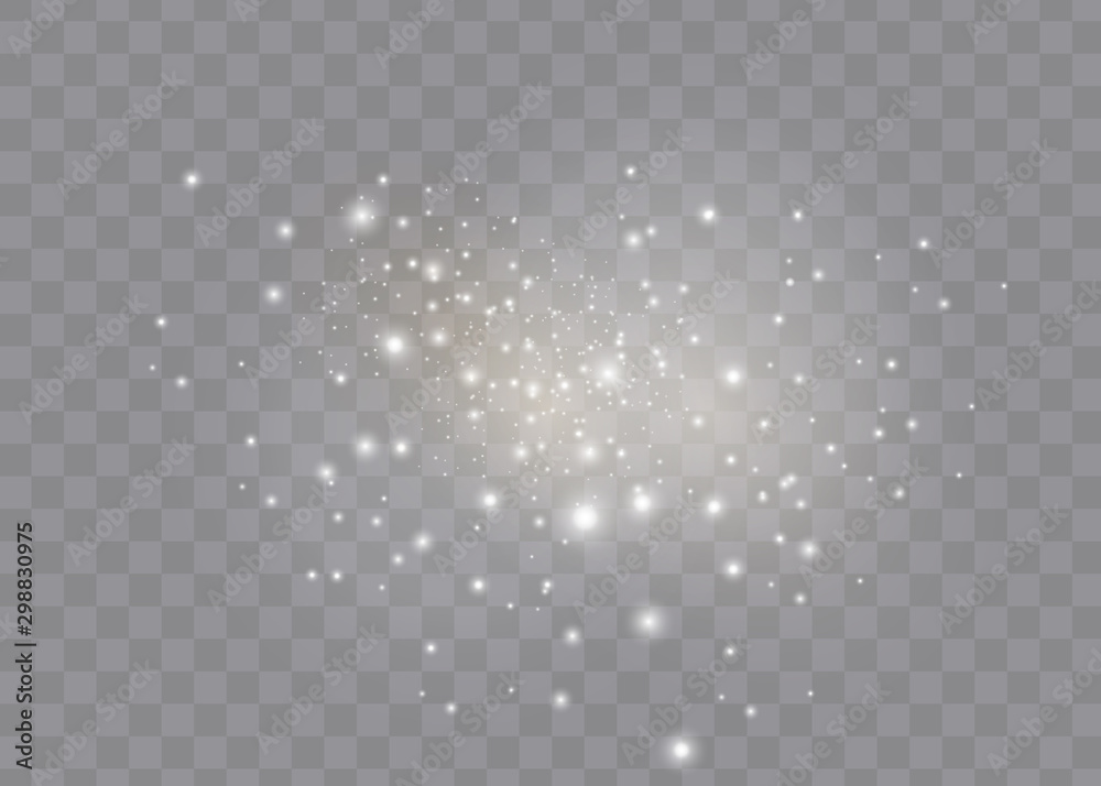 Fototapety, obrazy: The dust sparks and golden stars shine with special light. Vector sparkles on a transparent background. Christmas light effect.