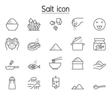 Salt Icon Set In Thin Line Style